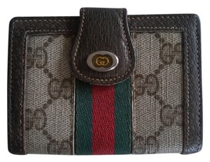 Gucci brown leather gg coated canvas red green webbing business card gucci gucci gg wallet business card holder htf rare colourmoves