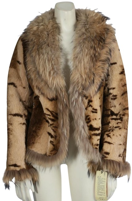 Item - Beige Zebra Print Fox Jacket Coat Size 4 (S)