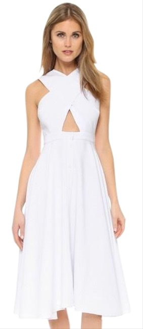 Item - White Cross Front Mid-length Cocktail Dress Size 2 (XS)