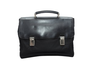 Prada Vintage Nylon & Saffiano Briefcase Leather Briefcase Black Travel Bag