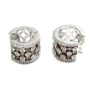 LeVian GORGEOUS!! LIKE NEW!! LeVian Chocolate and White Diamond 18 Karat White Gold Huggie Earrings