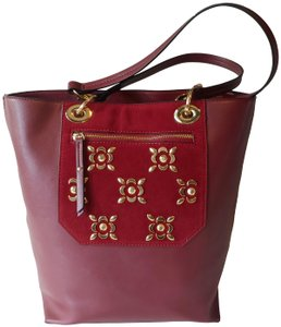 Kate Landry Faux Leather Tote in Burgundy