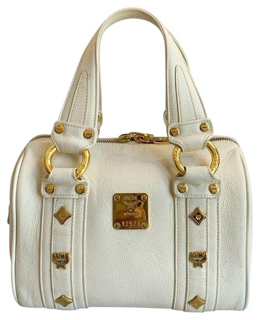 Item - Boston Bag Golden Studded Logo Motifs Small Cream Leather Satchel