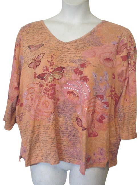 Item - Orange Sequin Embellished Butterfly 3/4 Sleeve Knit 1x Tee Shirt Size 20 (Plus 1x)