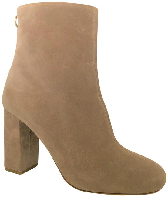 Item - Beige Suede 100 High Heel Lady Fashion Gold Zipper Toe Ankle Boots/Booties Size EU 38.5 (Approx. US 8.5) Regular (M, B)