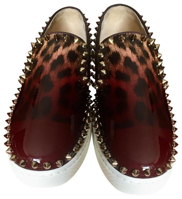 Christian Louboutin Leopard Print In Burgundy and Black with Gold Studs Patent Degrade Studded Womens Orthodoxe Boat Flat Loefers Sneakers Size EU 35.5 (Approx. US 5.5) Regular (M, B) Christian Louboutin Leopard Print In Burgundy and Black with Gold Studs Patent Degrade Studded Womens Orthodoxe Boat Flat Loefers Sneakers Size EU 35.5 (Approx. US 5.5) Regular (M, B) Image 1