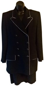 Dior Christian Dior Black with White trim Skirt Suit