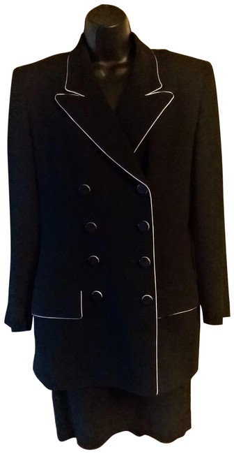 Item - Black with White Trim Christian Skirt Suit Size 6 (S)