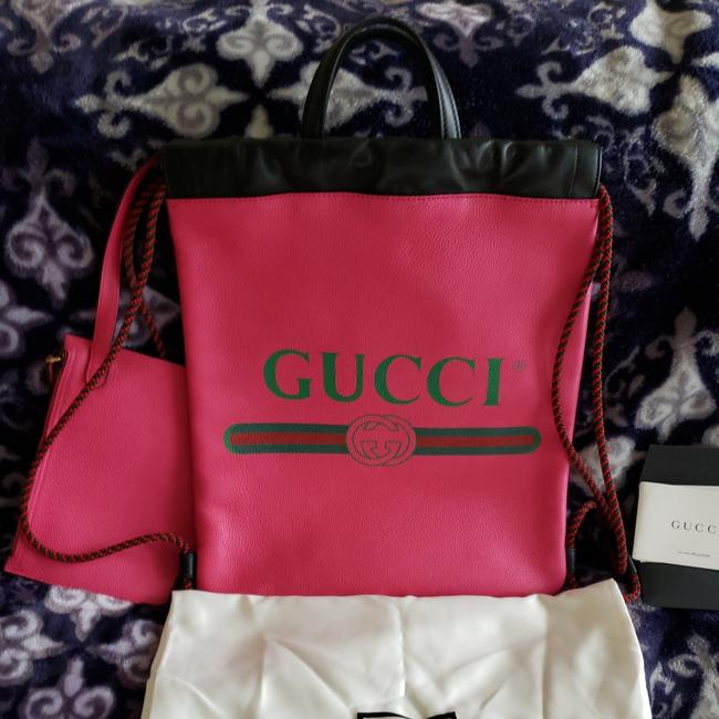 Item - Limited Edition with Zip Pouch Fuchsia & Black Accents Calfskin Leather Backpack