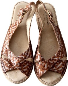 Eric Michael Espadrille Sandals Open Toe Slingback Copper Wedges