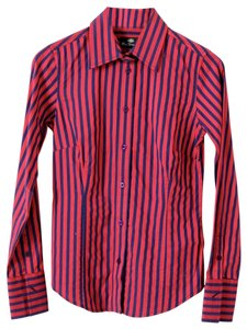 Ben Sherman Striped Fitted Button Down Shirt Red