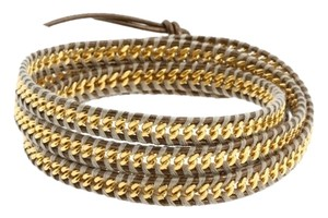 Chan Luu Chan Luu Kansa Leather Gold Chain Wrap Bracelet