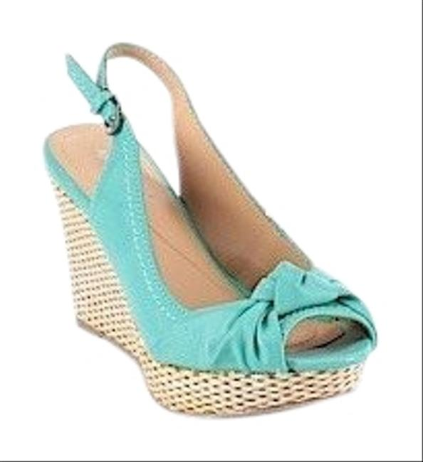 Item - Teal Ankle-strap Sandals Wedges Size US 7 Narrow (Aa, N)