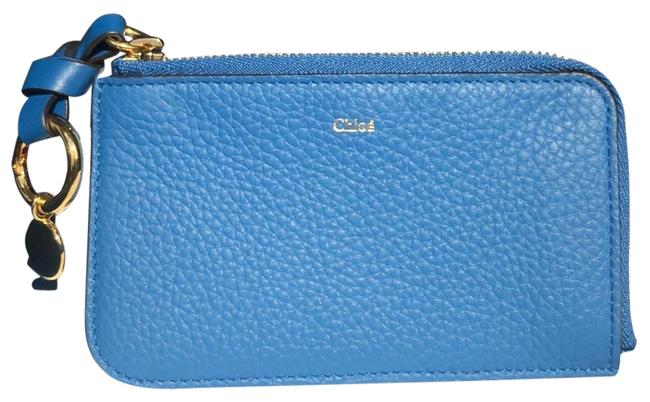 Item - Smoky Blue Leather Card Holder/Keychain/Coin Case Wallet