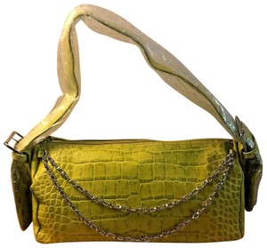 Charlie Lapson Faux Leather Embossed Silver Hardware Satchel in Green