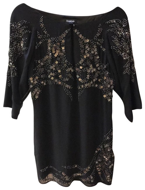 Item - Black Silver Embroidered Short Night Out Dress Size 2 (XS)