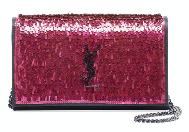Item - Monogram Kate Shoulder Small Paillette Sequin Black Wallet Chain Pink Suede Leather Cross Body Bag