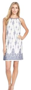 Just Taylor short dress white/ blue Embroidered Strap Sundress on Tradesy