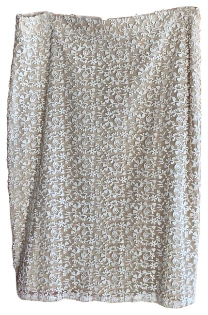 Item - White Lace Overlay Beige Pencil Skirt Size 12 (L, 32, 33)