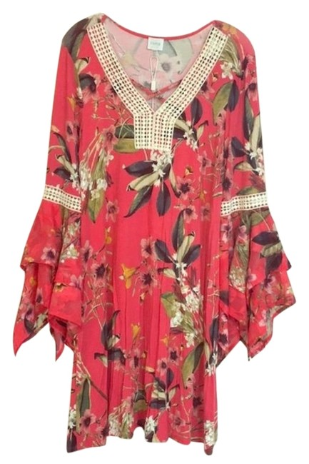 Item - Pink Bell Sleeves Floral Short Casual Dress Size 8 (M)