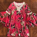 Cupio Pink Bell Sleeves Floral Short Casual Dress Size 8 (M) Cupio Pink Bell Sleeves Floral Short Casual Dress Size 8 (M) Image 3