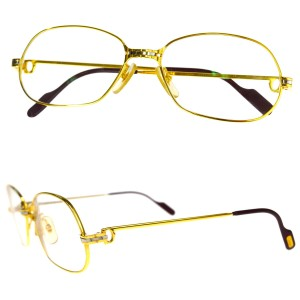 Cartier Must de Cartier Trinity Glasses Eye Wear Plastic Metal Gold France