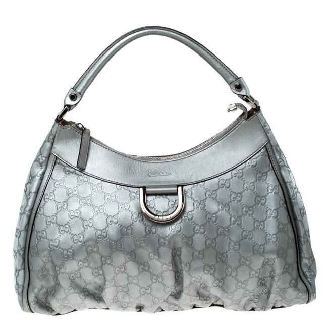 Item - ssima Large D Ring Silver Leather Hobo Bag