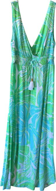 Item - Green and Blue Long Casual Maxi Dress Size 6 (S)