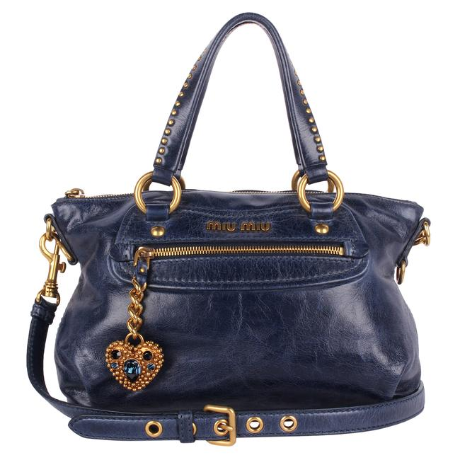 Item - Studded Heart 2way Handbag 8305 Blue Leather Shoulder Bag