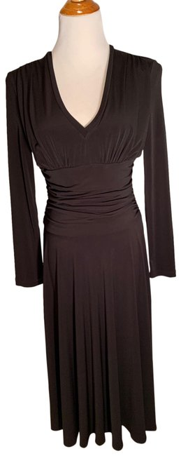 Item - Black Ruched Waist Mid-length Work/Office Dress Size 6 (S)
