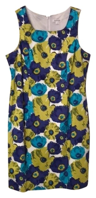 Item - White Green and Blue Nwot Sleeveless Floral Midi Mid-length Short Casual Dress Size 16 (XL, Plus 0x)