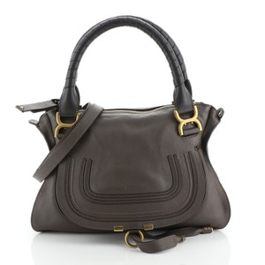 Chloé Marcie Leather Satchel in Neutral