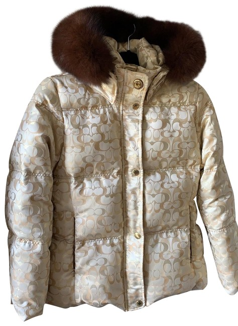 Item - Gold & Cream Signature Puffer Jacket Coat Size 8 (M)
