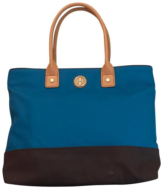 Item - Teal/Brown Shopper Purse Brown and Teal Canvas Leather Satchel