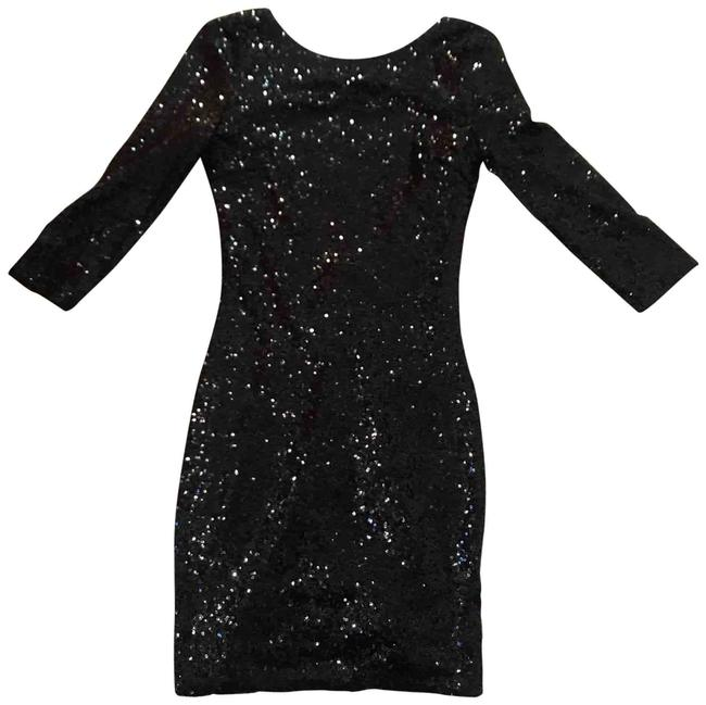 Item - Black Sequin Scoop Small Short Night Out Dress Size 4 (S)
