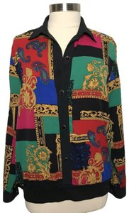 Alfred Dunner Buttonfront Patchworkprint Holidaytop Bandedcuff Top multicolor