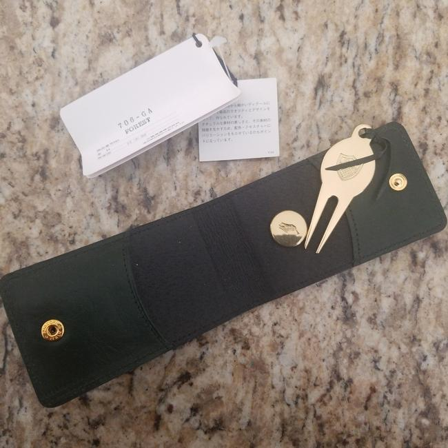 Item - Green Leather Divot Repair Tool and Ball Marker Groomsman Gift