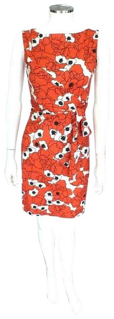 Item - Red Floral Print Silk Bodycon Style Shina Mid-length Cocktail Dress Size 0 (XS)