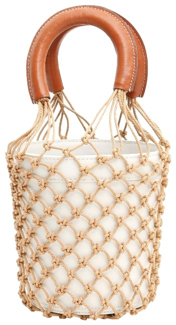 Item - Bucket Bag Moreau Brown Cage Net Dual Handle Round White Leather Tote