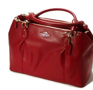 Coach Leather Classic Gold Satchel in red