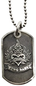 King Baby CHOSEN HEART STERLING SILVER DOG TAG PENDANT BALL CHAIN NECKLACE