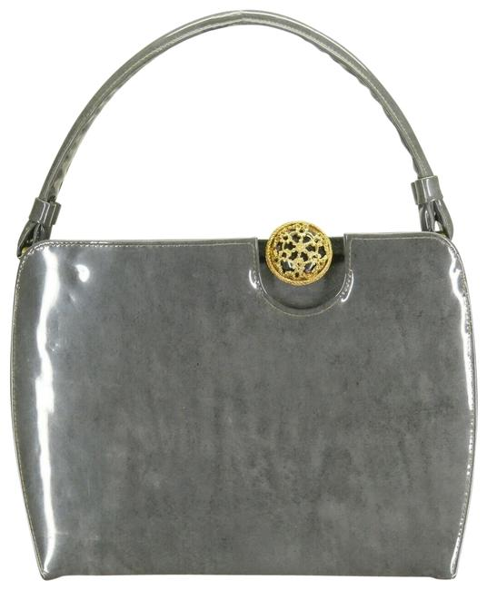 Item - Mini Sharkskin Gray Patent Leather Baguette