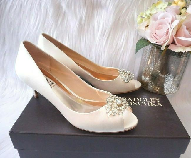 Item - Ivory Layla Embellished Peep Toe Low Heel Satin Pumps Size US 5.5 Regular (M, B)