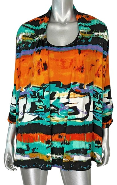 Grace Elements Black Multi Color Blouse Size 20 (Plus 1x) Grace Elements Black Multi Color Blouse Size 20 (Plus 1x) Image 1
