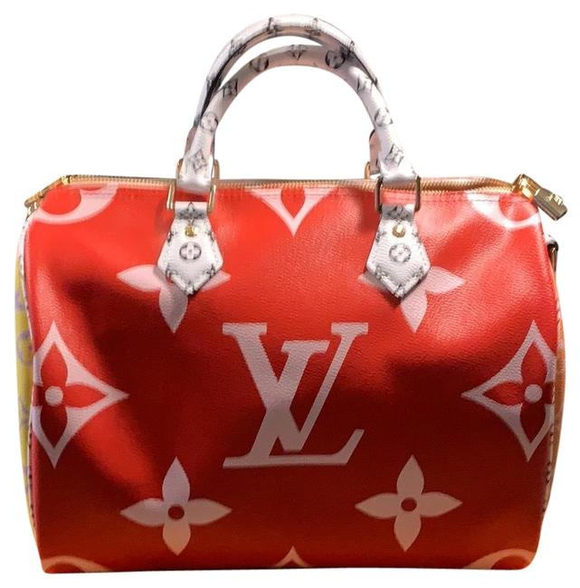 Item - Speedy Giant Red Multi Monogram Canvas Satchel