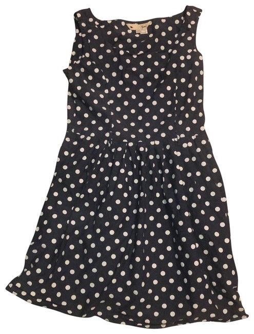 Item - Gray and White Vintage Look Polka Dotted Short Casual Dress Size 2 (XS)