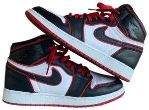black red and white nike high tops