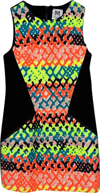 Item - Black White Neon Orange Yellow Blue Peach Nude Cream Jacquard Rafia Woven Mini Short Night Out Dress Size 2 (XS)