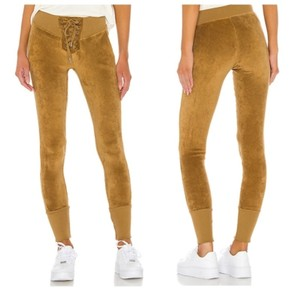 NSF REVOLVE Maddox Lace Front Gold Velour Pants