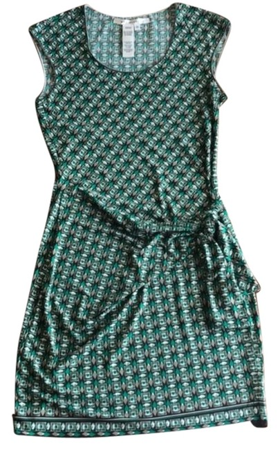 Item - Green and Gray Front Knot Geometric Print Short Casual Dress Size 8 (M)